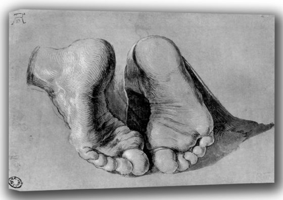 Durer, Albrecht: Feet of an Apostle. Fine Art Canvas. Sizes: A4/A3/A2/A1 (001220)